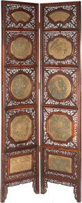 Asian:Chinese, TWO CHINESE PIERCED HARD WOOD AND GILT BRONZE FLOOR SCREEN PANELS. 77-1/2 inches high x 35 inches wide (196.9 x 88.9 cm). ... (Total: 2 Items)