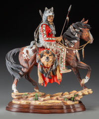 A CONNOISSEUR POLYCHROME PORCELAIN THE GUARDIAN SPIRIT ON CARVED WOOD BASE, 20th cen