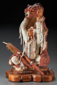 A BRONN POLYCHROME PORCELAIN THE MOON OF THE CHANGING SEASON ON A CARVED WOOD BASE