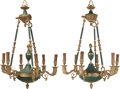 Lighting:Chandeliers, A PAIR OF FRENCH EMPIRE-STYLE PAINTED AND GILT BRONZE SIX-LIGHT CHANDELIERS, circa 1950. 37 inches high x 24 inches diameter... (Total: 2 Items)