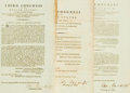 Books:Americana & American History, Group of Three Original Acts of Congress from the Third Congress ofthe United States. Circa 1794, 1795. ...