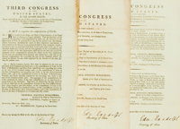 Group of Three Original Acts of Congress from the Third Congress of the United States. Circa 1794, 1795