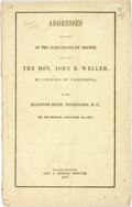 Books:Americana & American History, Addresses Delivered at the Complimentary Dinner Given to theHon. John B. Weller, by the Citizens of California, at theKirk...