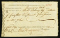 Colonial Notes:Massachusetts, Massachusetts Treasury Office Receipt £10 4d January 28, 1791Fine.. ...