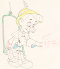 "Animation Art:Production Drawing, Pinocchio ""Growing Nose"" Animation Drawing (Walt Disney,1940)...."