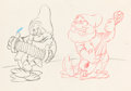 Animation Art:Production Drawing, Snow White and Seven Dwarfs Bashful and Doc AnimationDrawing (Walt Disney, 1937)....
