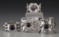 Silver Smalls:Other , THREE MEXICAN SILVER AND HARDSTONE BRACELETS AND A BROOCH, circa1950. Marks: P. S., Mexico, STERLING (bracelet with lar...(Total: 4 Items)