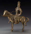 Asian:Chinese, A CHINESE BRASS AND HARDSTONE FIGURAL GROUP, 20th century. 9-3/4inches high x 8-3/4 inches wide (24.8 x 22.2 cm). Propert...
