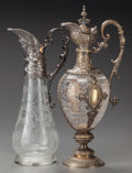 Other:European, A CONTINENTAL ETCHED CLEAR GLASS EWER WITH SILVER-PLATE MOUNTS,circa 1875. Marks to largest: 800M. 15 x 7 x 5 inches (l...