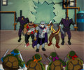 Animation Art:Production Cel, Teenage Mutant Ninja Turtles Turtles, Shredder, and FootNinjas Production Cel and Painted Master Background Setup Ani...(Total: 4 Original Art)