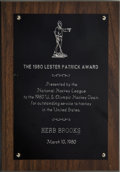 """Hockey Collectibles:Others, 1980 Herb Brooks """"The Lester Patrick"""" Presentation Plaque. ..."""