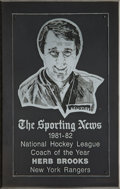 """Hockey Collectibles:Others, 1981-82 Herb Brooks """"The Sporting News"""" NHL Coach of the Year Presentation Plaque. ..."""