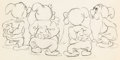 Animation Art:Production Drawing, Snow White and Seven Dwarfs Sneezy, Happy, Bashful andSleepy Animation Drawing (Walt Disney, 1937)....