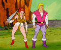 Animation Art:Production Cel, He-Man and the Masters of the Universe Prince Adam and TeelaProduction Cel and Painted Key Master Background Setup An...(Total: 5 Original Art)