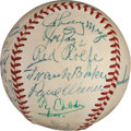 Baseball Collectibles:Balls, 1955 Hall of Fame Induction Weekend Multi Signed Baseball With Cobb & Speaker. ...