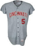 Baseball Collectibles:Uniforms, 1970 Johnny Bench Game Worn Cincinnati Reds Jersey, MEARS A9....