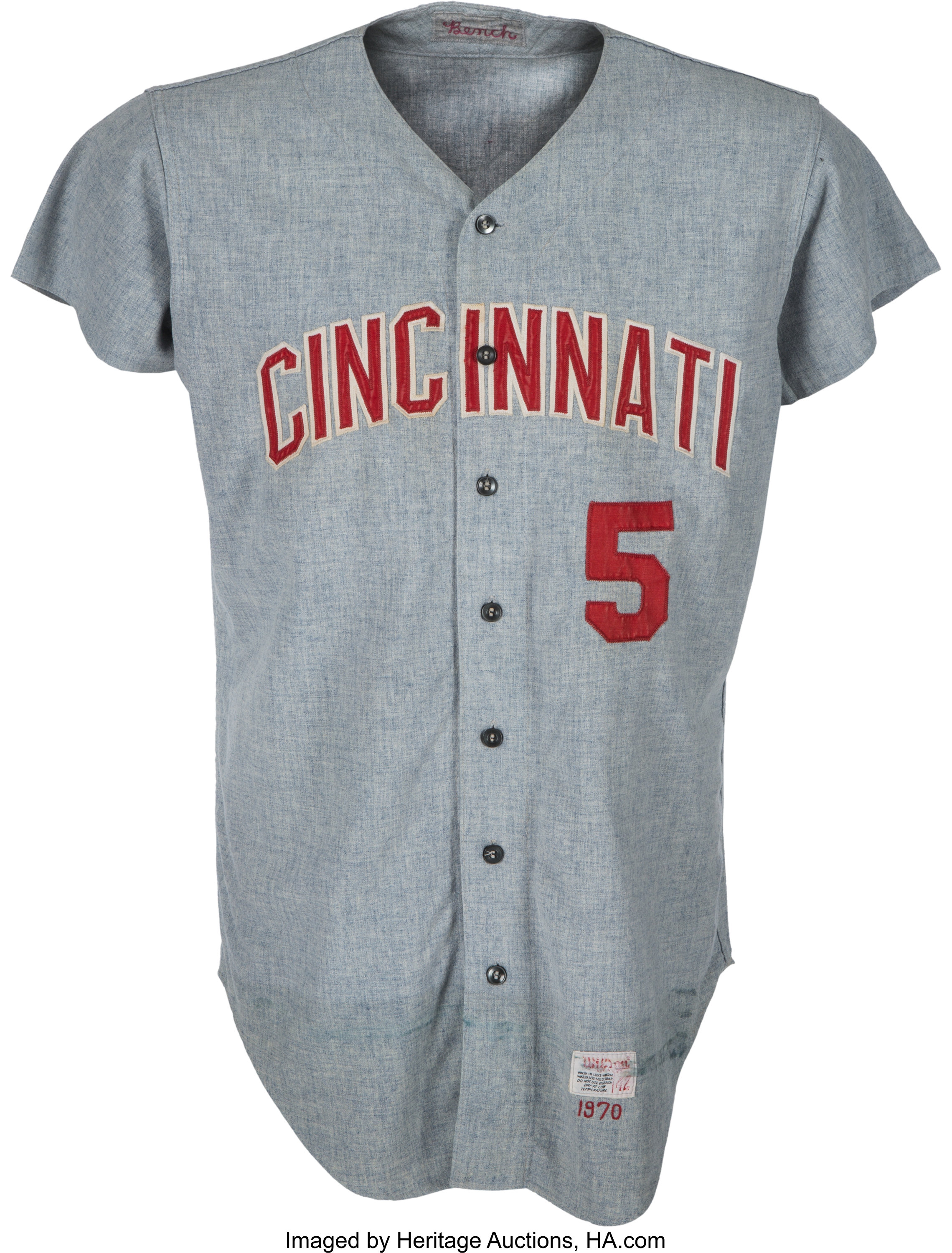 check out 4608a e413c 1970 Johnny Bench Game Worn Cincinnati Reds Jersey, MEARS A9 ...