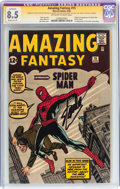 Silver Age (1956-1969):Superhero, Amazing Fantasy #15 Signature Series (Marvel, 1962) CGC ApparentVF+ 8.5 Moderate (P) Off-white to white pages....