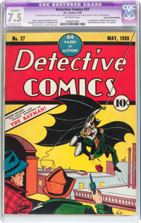 Detective Comics #27 (DC, 1939) CGC Apparent VF- 7.5 Extensive (A-5) Off-white pages