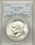 Eisenhower Dollars: , 1974-S $1 Silver MS68 PCGS. PCGS Population (998/3). NGC Census: (177/1). Mintage: 1,900,156. Numismedia Wsl. Price for pro...