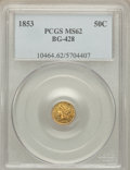 California Fractional Gold: , 1853 50C Liberty Round 50 Cents, BG-428, R.3, MS62 PCGS. PCGSPopulation (83/34). NGC Census: (24/13). ...