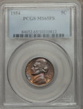 Jefferson Nickels: , 1954 5C MS65 Full Steps PCGS. PCGS Population (38/5). Numismedia Wsl. Price for problem free NGC/PCGS c...