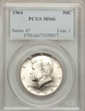 Kennedy Half Dollars: , 1964 50C MS66 PCGS. PCGS Population (1034/34). NGC Census:(663/43). Mintage: 273,300,000. Numismedia Wsl. Price for proble...