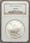 Modern Issues, 2005-P $1 Marine Corps MS70 NGC. NGC Census: (6491). PCGS Population (1103). Numismedia Wsl. Price for problem free NGC/PC...