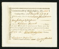 Colonial Notes:Massachusetts, Massachusetts Treasury Collector of Impost and Excise Tax'sCertificate £7 17s 4d December 3, 1789 Anderson MA-44 Very Fine....