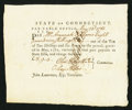 Colonial Notes:Connecticut, Connecticut Pay Table Office £8 9s 4d May 23, 1782 VeryFine-Extremely Fine.. ...