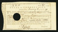Colonial Notes:Connecticut, Connecticut Treasury Certificate £12 6s 10d January 13, 1790Anderson CT-25 Extremely Fine-About New, HOC.. ...
