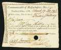Colonial Notes:Massachusetts, Massachusetts Treasury Collector of Impost and Excise Tax's Certificate 30s 6d March 19, 1788 Anderson MA-43 Very Fine, HOC....