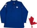 Football Collectibles:Uniforms, 2008 Tom Coughlin Game Worn New York Giants Super Bowl XLII Polo Shirt and Challenge Flag....