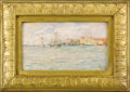 19th Century European:Landscape, Venice, Shipping Scene. . Mariotti, Italian. 19th Century.Oil on artist's board; framed. Signed by artist in lower ...