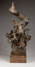 Sculpture, Liberty, waving a flag, sits atop a horse along with other figures.. Bronze. 29.5 inches in height, including base. ...