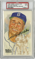 Autographs:Post Cards, Walter Alston Signed Perez-Steele Postcard PSA EX 5. The Brilliant Hall of Fame manager of the Brooklyn and Los Angeles Dod...