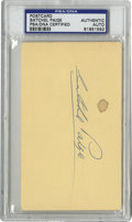 Autographs:Post Cards, Satchel Paige Signed Government Postcard, PSA Authentic. Theageless Hall of Fame mound legend Satchel Paige has provided a...