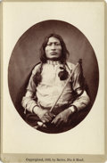 "Photography:Cabinet Photos, SIOUX CHIEF ""ONE BULL"" FORT RANDALL D. T. CABINET CARD ca 1880sOneBull (Sioux Chief) printed on verso, ""Twenty-seven years ...(Total: 1 Item)"