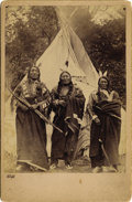 Photography:Cabinet Photos, SIOUX INDIANS STANDING ELK, ROASTER, SPOTTED TAIL'S SON ca 1880s Very nice outdoor photograph of three Sioux Indian chiefs s... (Total: 1 Item)