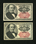 Fractional Currency:Fifth Issue, Fr. 1309 25c Fifth Issue Two Examples About New; Choice New....(Total: 2 notes)