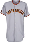 Baseball Collectibles:Uniforms, 2009 Randy Johnson Game Worn San Francisco Giants Jersey, MEARSA10. ...