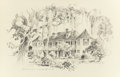 "Texas:Early Texas Art - Modernists, EDWARD MUEGGE ""BUCK"" SCHIWETZ (American, 1898-1984). MelrosePlantation Home Near Natchitoches, 1953. Pencil on paper. 1..."