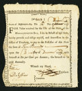 Colonial Notes:Massachusetts, State of Massachusetts Bay Treasury Certificate £10 December 12,1777 Anderson MA-4 Extremely Fine.. ...