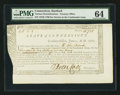 Colonial Notes:Connecticut, Connecticut Treasury Certificate £5 2s 1d June 1, 1780 Anderson CT-18 PMG Choice Uncirculated 64.. ...