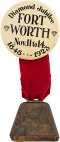 Autographs:Celebrities, Fort Worth Pinback with Ribbon and Bell....