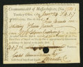 Colonial Notes:Massachusetts, Massachusetts Treasury Office Import and Excise Certificate £4 1s7d Jan. 24, 1788 Anderson MA-42 Very Good-Fine, HOC, pen can...