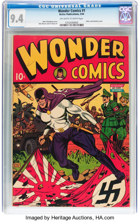 Wonder Comics #1 (Better Publications, 1944) CGC NM 9.4 Off-white to white pages....
