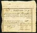 Colonial Notes:Pennsylvania, Pennsylvania Interest Bearing Certificate £40 August 26, 1780Anderson PA-2 Very Fine.. ...