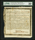 Colonial Notes:Massachusetts, Massachusetts Interest Due Treasury Certificate £100 Nov. 1, 1789Anderson MA-34 PMG Very Fine 30 Net.. ...