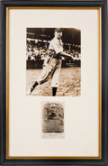 Baseball Collectibles:Others, 1953 Cy Young Signed Black and White Hall of Fame Plaque Postcard....